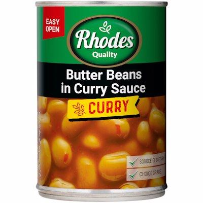 RHODES BUTTER BEANS IN CURRY SAUCE 410G