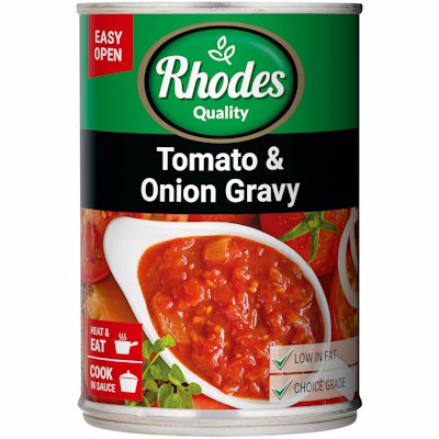 RHODES TOMATO & ONION GRAVY 410G