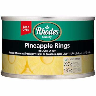 RHODES PINEAPPLE RINGS IN LIGHT SYRUP 227G