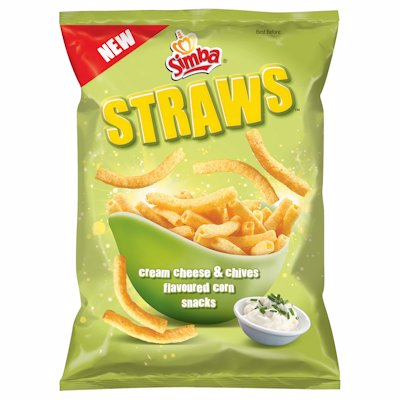 SIMBA STRAWS CREAM CHEESE & CHIVES FLAVOUR 110G