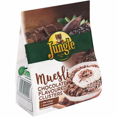 JUNGLE MUESLI CHOCOLATE DLAVOURED CLUSTERS 400G