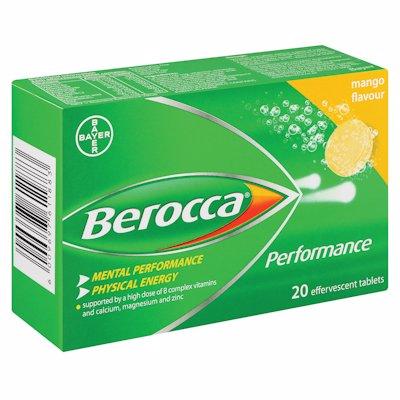 BEROCCA EFFERVESCENT TABLETS MANGO 20'S
