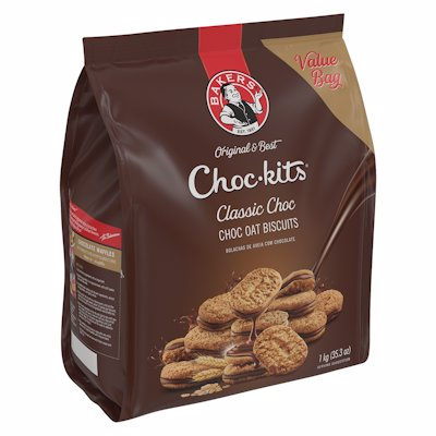 BAKERS CHOC-KITS CRUNCHY OAT CHOC BISCUITS 1KG