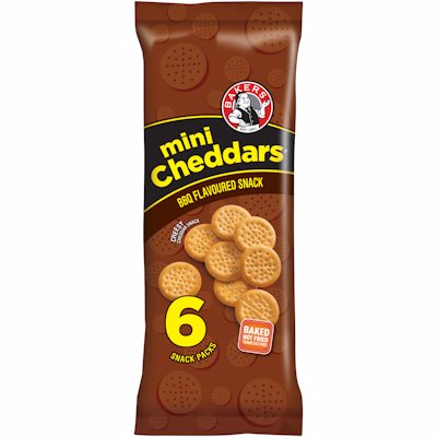 BAKERS MINI CHEDDARS BBQ 198GR