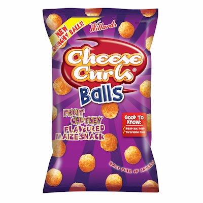 WILLARDS CHEESE CURLS BALLS CHUTNEY FLAVOUR 100G