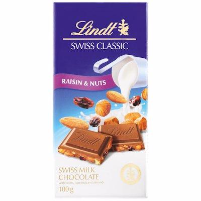 LINDT SWISS CLASSIC RAISIN & NUTS CHOC SLAB 100G