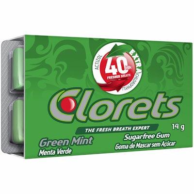 CLORETS SUGARFREE GUM GREEN MINT 14G