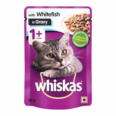 WHISKAS 1+ WITH  WHITEFISH IN GRAVY 85G