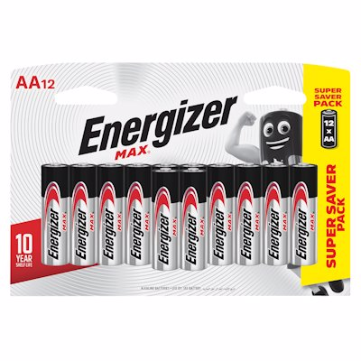 ENERGIZER MAX AA BATTERIES 12'S